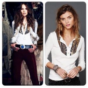 Free People | sequin button long sleeve shirt